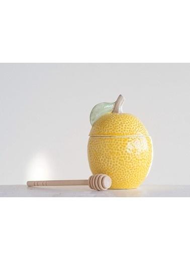 Warm Design Seramik  2'li Set Limon Figürlü Kavanoz Sarı